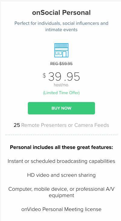 Introductory pricing for BlueJeans onSocial for Facebook Live