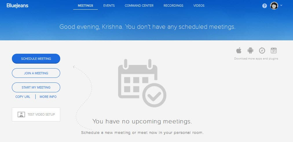 Schedule a meeting using BlueJeans onSocial