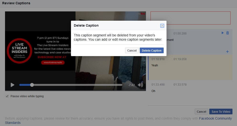 You will be asked to confirm if you want to delete a Facebook video caption