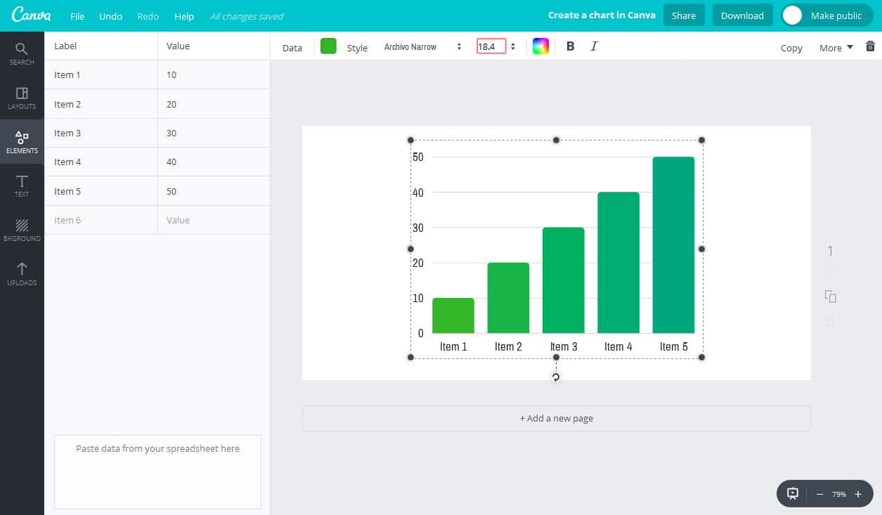 Add the data to your graph in Canva
