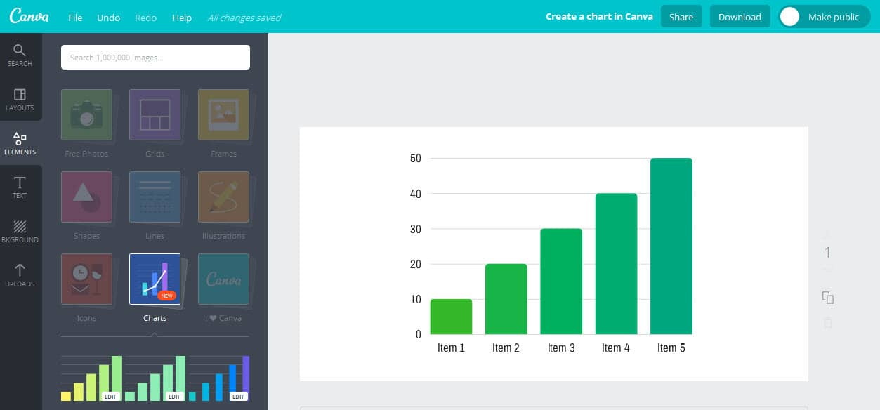 Get started creating charts in Canva