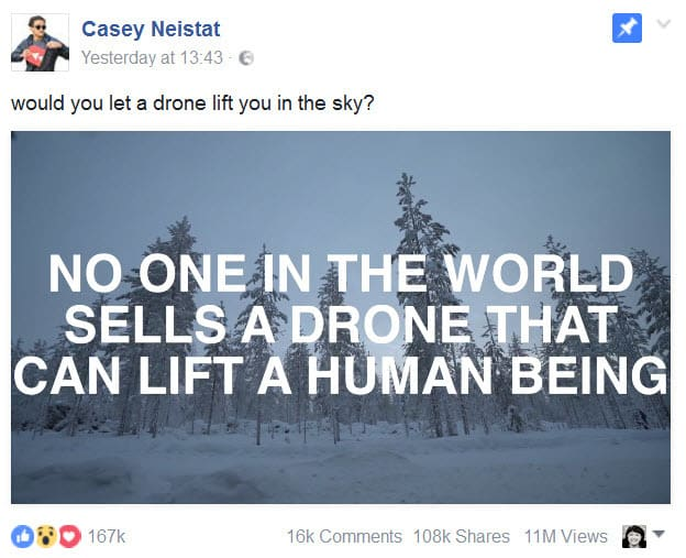 Human flying drone on Facebook