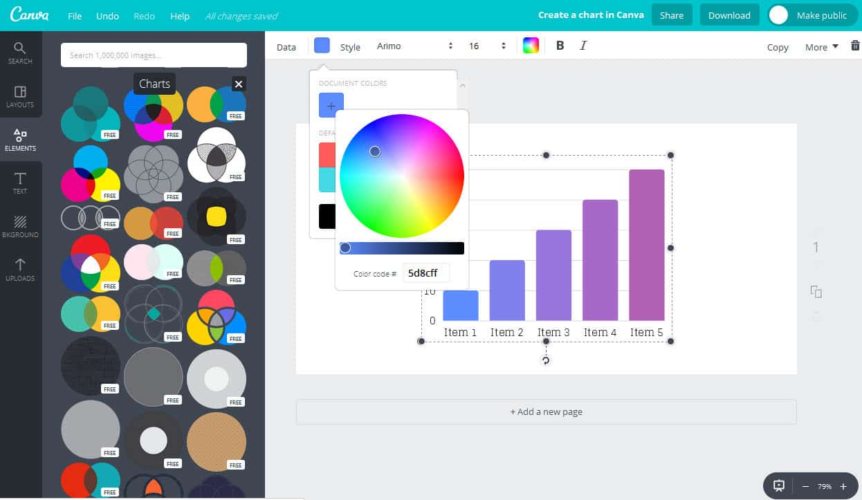 Select the colour for your chart in the Canva app