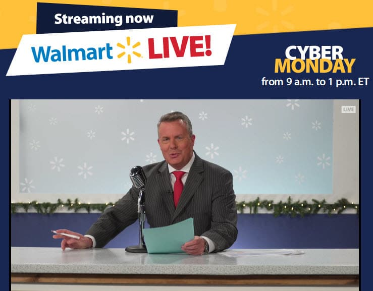 Walmart live Cyber Monday campaign live stream show anchor