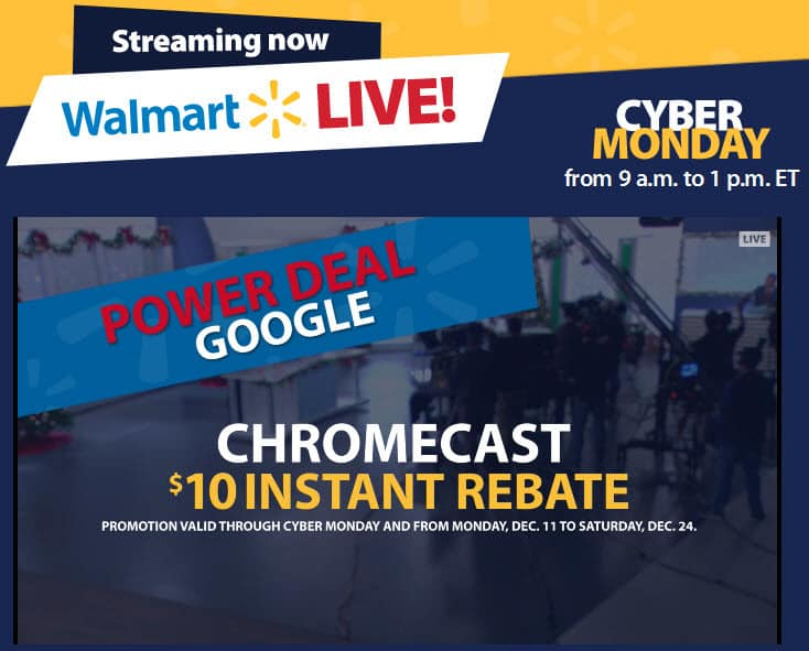 Walmart live Cyber Monday campaign with featured video ads