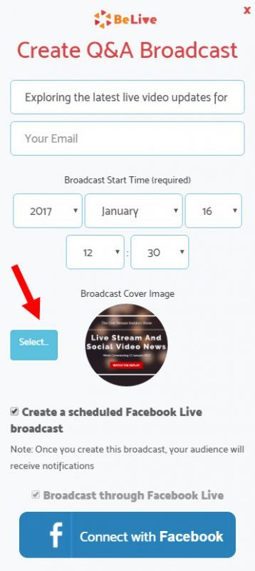 Add a cover image to your broadcast on Facebook Live