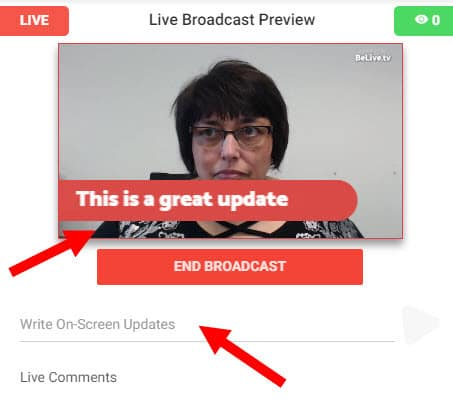 Add comments during your live stream that appear on screen