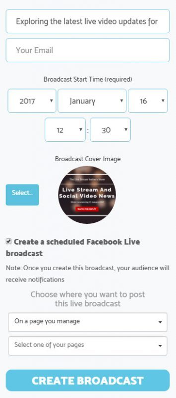 Choose the relevant page to schedule your Facebook Live stream