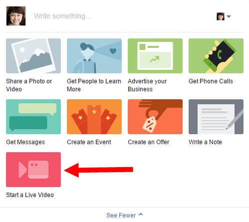 Click Start A Live Video on your Facebook Page