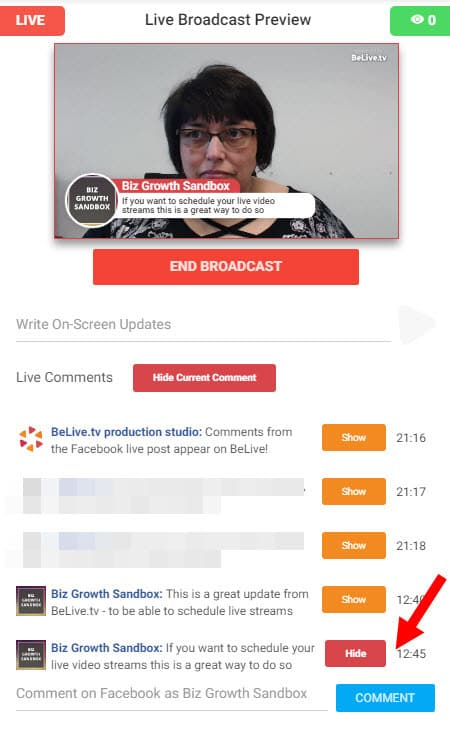 Comments from viewers on Facebook Live can be seen and brought on screen by the broadcaster