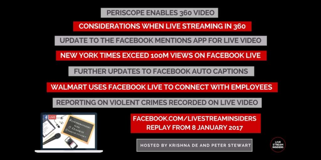 Live video news week commencing 8 January 2017