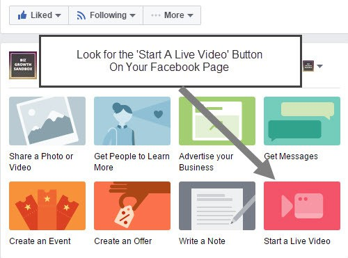 Look for the Start A Live Video button on your Facebook Page