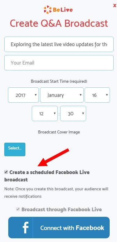 When setting up the live stream click to create a scheduled broadcast