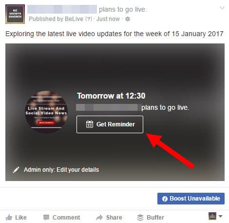 When you check your Facebook Page you will see that the event has been scheduled