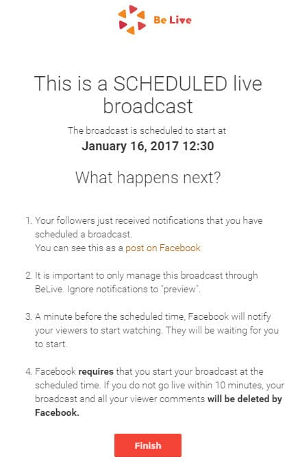 Your Facebook Live stream has now been scheduled