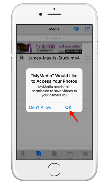 Allow MyMedia access to your camera roll