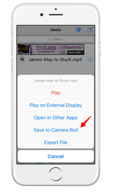 Move the video file to your camera roll or other apps