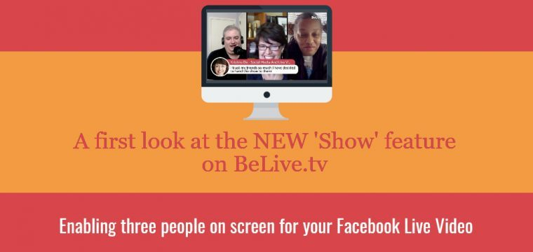 Facebook Live stream with three people on screen using BeLive.tv and the Talk Show feature