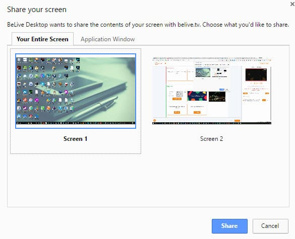 BeLive Talk Show now enables screen sharing if you have more than one screen select which one you want to share