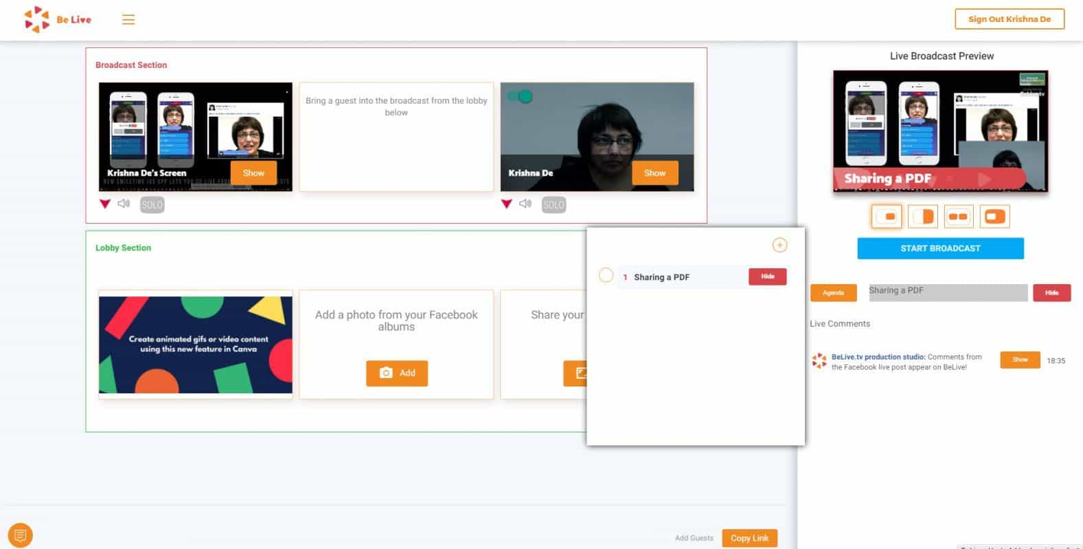 BeLive Talk Show now enables screen sharing using titles from the agenda to provide context
