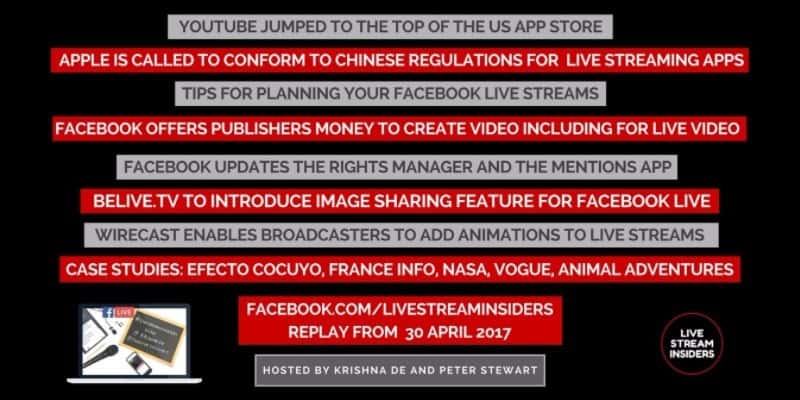 Live video news week commencing 30 April 2017