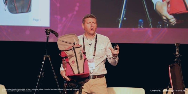 Review of MoJoCon 2017 products and exhibitors Gerry ORiordan Manfrotto Hahnel Industries Brand Manager in Ireland