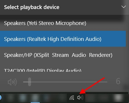 Checking the sound output on a Windows 10 machine having installed the Creators Update