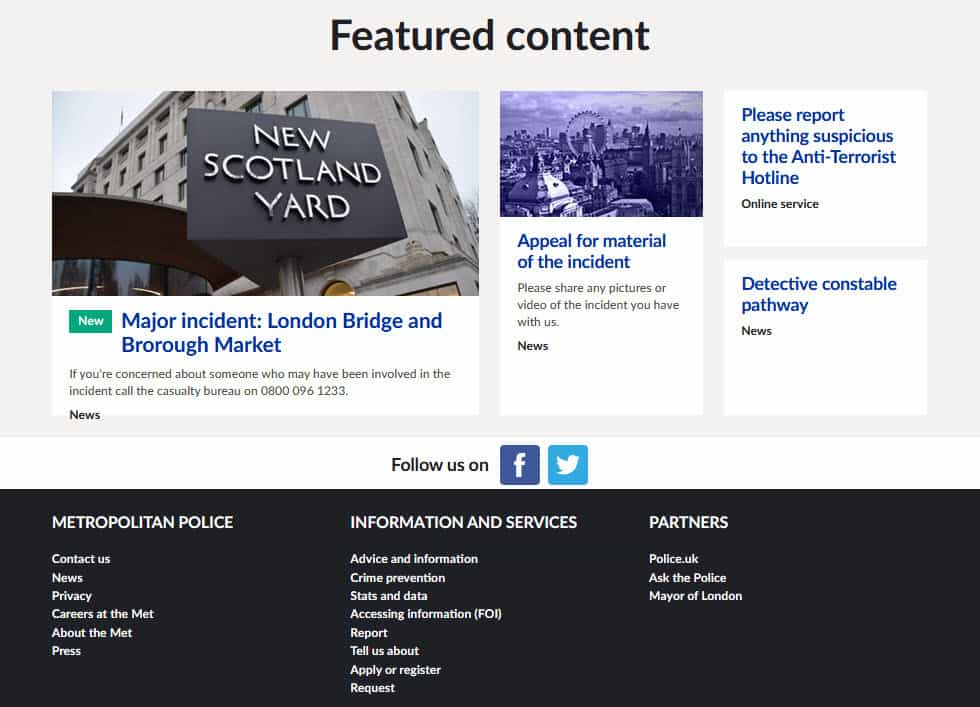 Communications about the London terrorist attack on the Metropolitan Police website