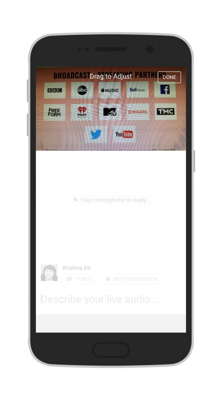 Facebook Live Audio on Android adjust the position of the photo before starting your live stream