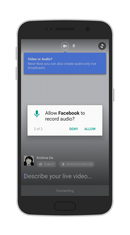 Facebook Live Audio on Android allow Facebook access to record audio