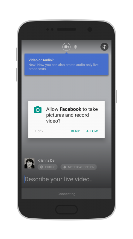 Facebook Live Audio on Android allow access to take pictures and record video