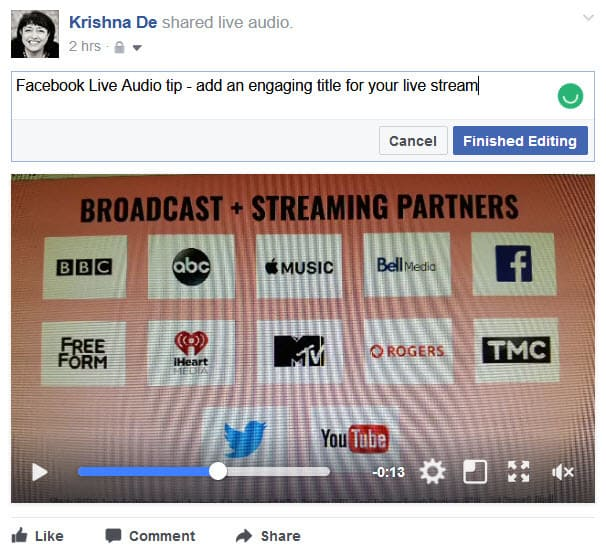 Facebook Live Audio on Android edit your live strream on your Profle as you would other video content