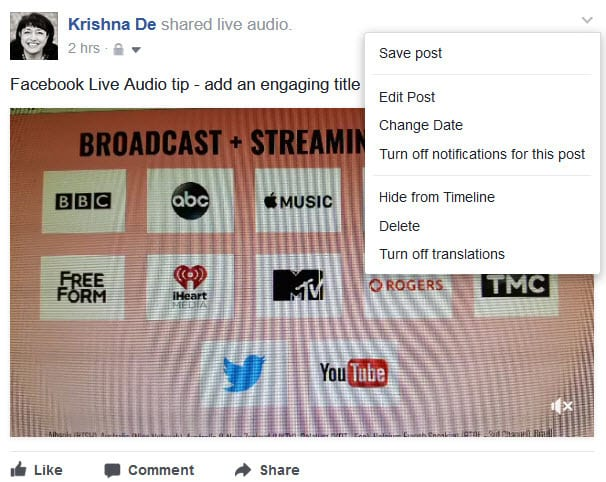 Facebook Live Audio on Android editing features on a Facebook Profile after a live stream