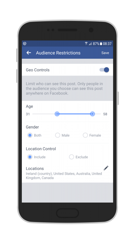 Facebook Live Audio on Android on your Page you can include or exclude different locations