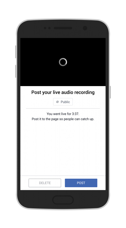 Facebook Live Audio on Android post the recording of the live stream to your Page