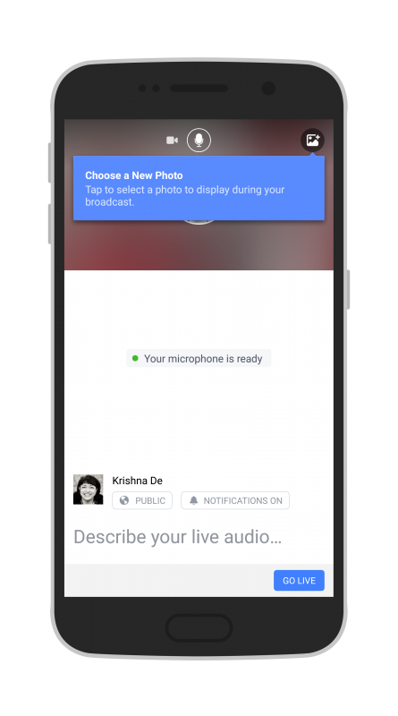 Facebook Live Audio on Android select a photo to accompany your live stream