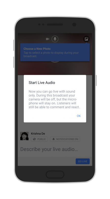 Facebook Live Audio on Android start a live audio stream