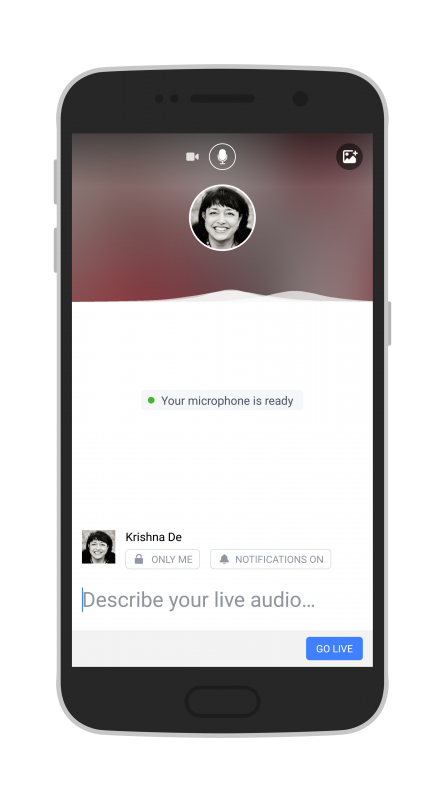 Facebook Live Audio on Android test your live stream by checking there are sound waves before you go live
