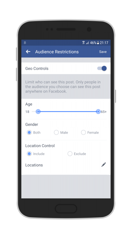 Facebook Live Audio on Android when streaming you your Page refine your audience before going live