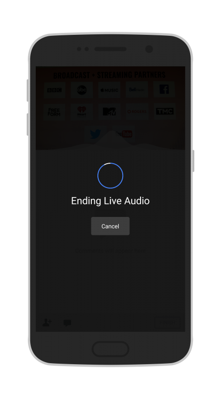 Facebook Live Audio on Android you will see that the live stream is ending