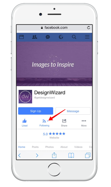 Facebook live notifications from pages on mobile - click on following