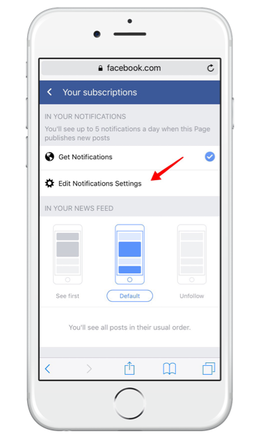 Facebook live notifications from pages on mobile - edit notification settings