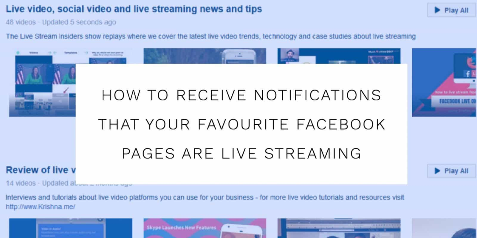 How to receive Facebook Live notifications from a Facebook Page you follow