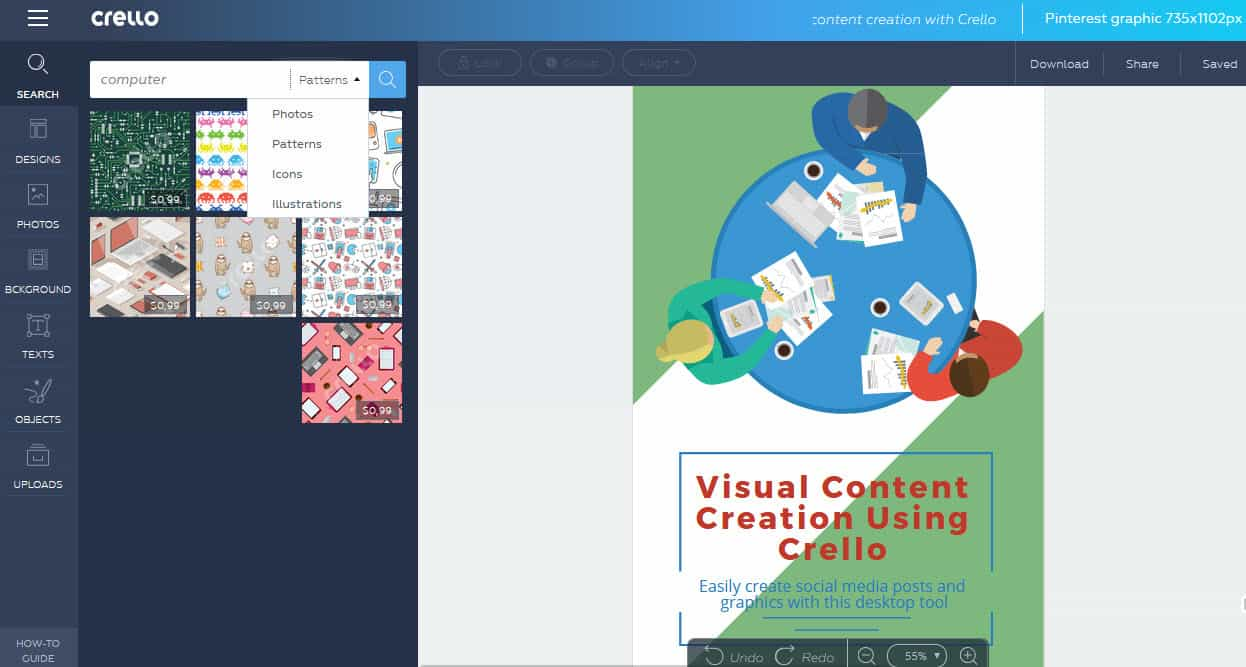 How to use Crello for visual content creation - choose photos illustrations patterns and icons