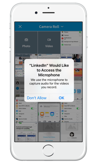 How to use LinkedIn native video on your iPhone - allow LinkedIn access to your microphone