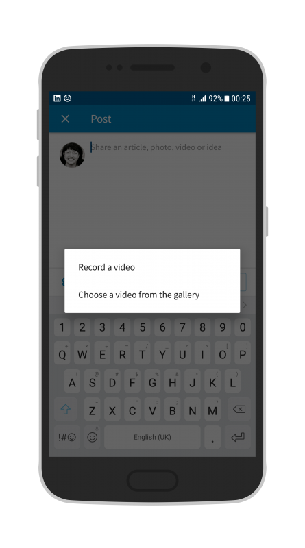 How to use the native video feature on LinkedIn with your Android phone - record a video or choose a video from your camera roll