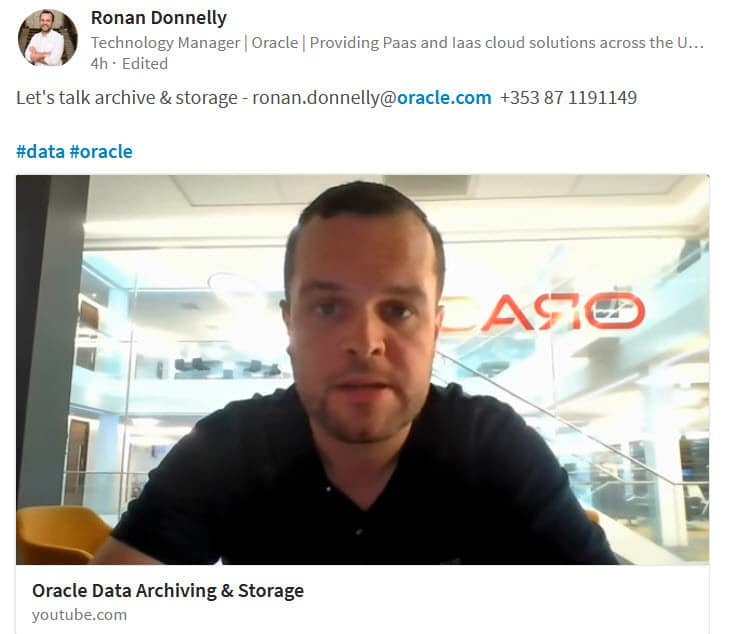 Oracle Ireland employee shares YouTube video to LinkedIn to share what he is working on