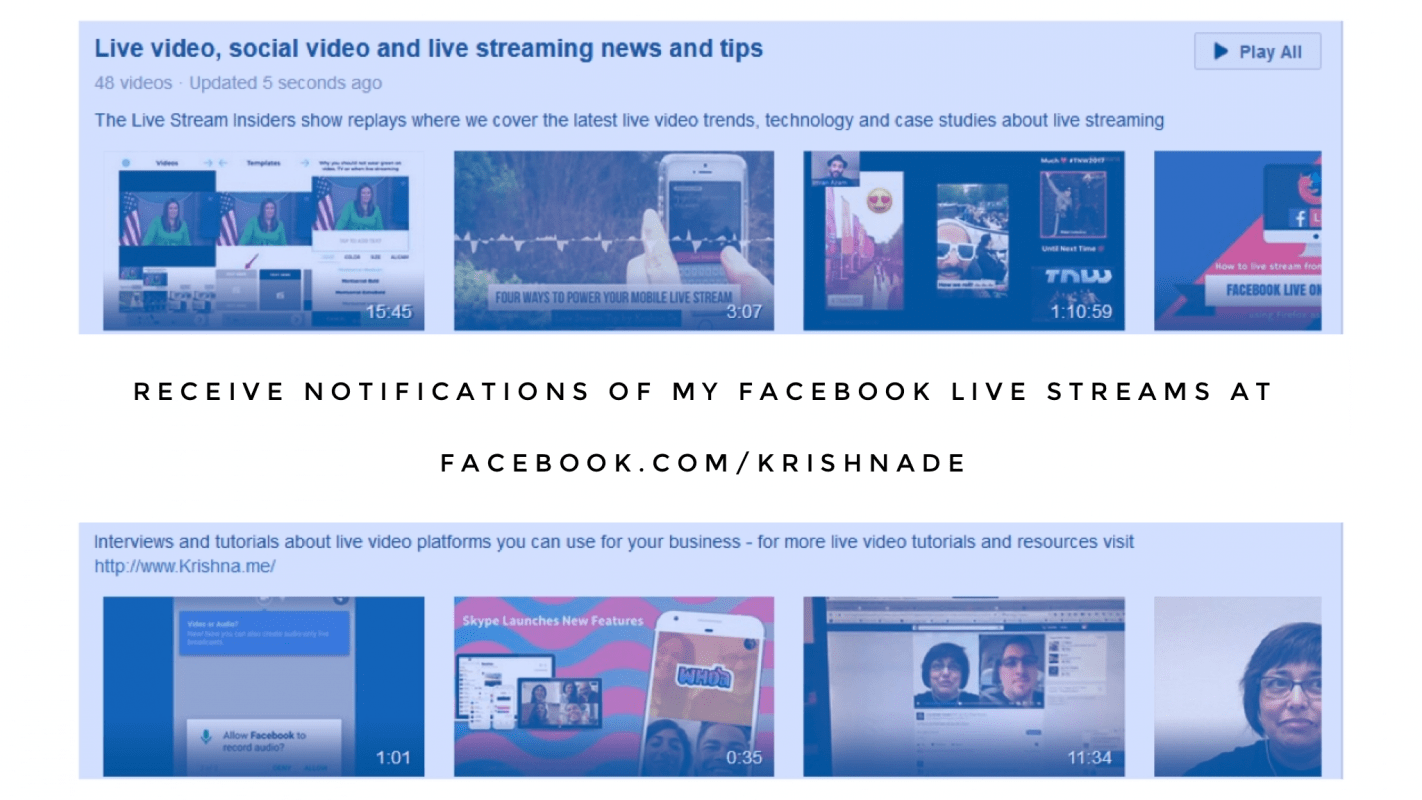 Receive notifications from Krishna De of her Facebook Live video