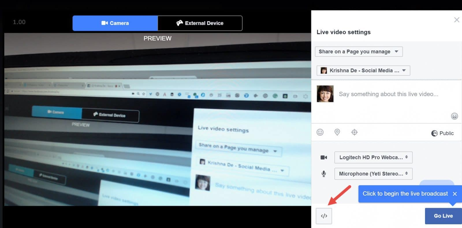 Start a live video on Google Chrome for your business page from desktop access the embed code