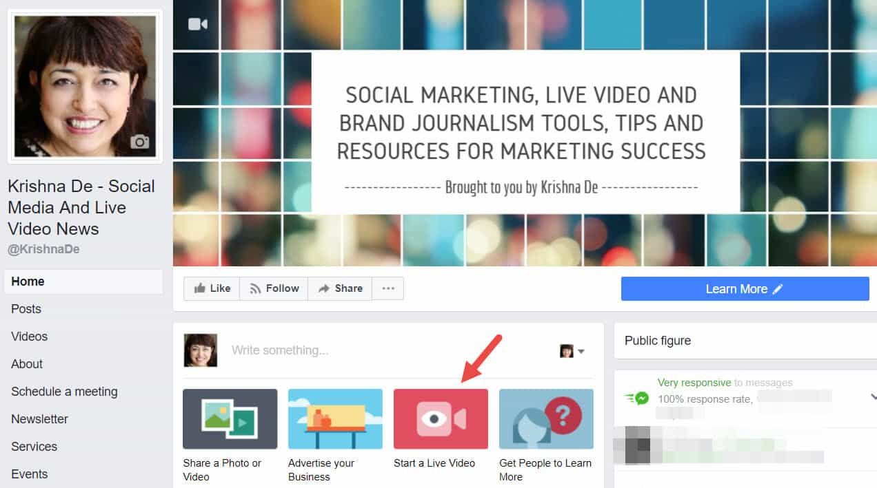 Start a live video on Google Chrome for your business page from desktop